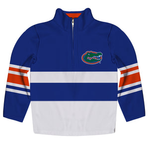 Florida Logo Stripes Blue Long Sleeve Quarter Zip Sweatshirt