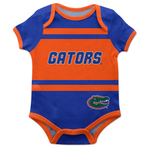 Florida Gators Block Stripe Blue Short Sleeve Onesie - Vive La Fête - Online Children's Apparel