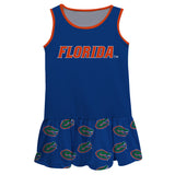 Florida Repeat Logo Blue Sleeveless Lily Dress - Vive La Fête - Online Children's Apparel