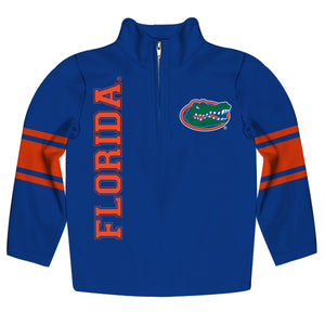 Florida Stripes Blue Long Sleeve Quarter Zip Sweatshirt - Vive La Fête - Online Children's Apparel