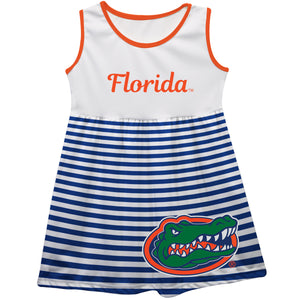 Florida Big Logo Blue And White Stripes Tank Dress - Vive La Fête - Online Children's Apparel