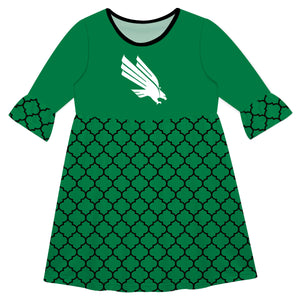 North Texas Quatrefoil Green Amy Dress Three Quarter Sleeve - Vive La Fête - Online Children's Apparel