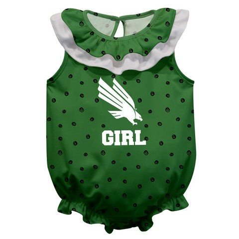 North Texas Swirls Green Girls Sleeveless Onesie