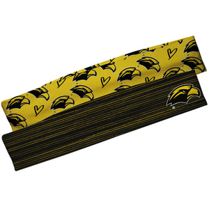 Southern Mississippi Black Solid And Gold Repeat Logo Headband Set
