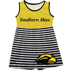 Southern Mississippi Big Logo Black And White Stripes Tank Dress