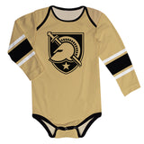 United States Military Academy Stripes Gold Long Sleeve Onesie - Vive La Fête - Online Children's Apparel