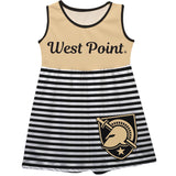 United States Military Academy Big Logo Black And White Stripes Tank Dress