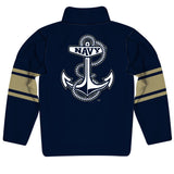 United States Naval Academy Logo Stripes Navy Blue Long Sleeve Quarter Zip Sweatshirt - Vive La Fête - Online Apparel Store