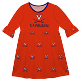 Virginia Cavaliers Print Orange Amy Dress Three Quarter - Vive La Fête - Online Children's Apparel