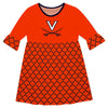 Virginia Cavaliers Quatrefoil Orange Amy Dress Three Quarter - Vive La Fête - Online Apparel Store