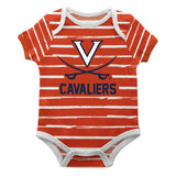 Virginia Cavaliers Stripe Orange and White Boys Onesie S - Vive La Fête - Online Children's Apparel