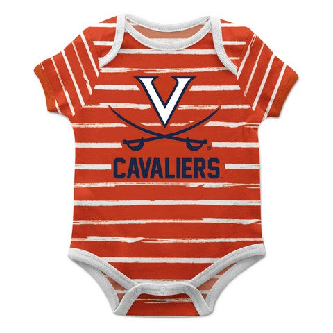 Virginia Cavaliers Stripe Orange and White Boys Onesie S