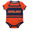 Virginia Cavaliers Block Stripe Orange Short Sleeve Onesie - Vive La Fête - Online Children's Apparel