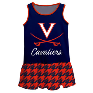 Virginia Cavaliers Houndstooth Blue Sleeveless Lily Dress - Vive La Fête - Online Children's Apparel