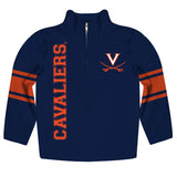Virginia Cavaliers Stripes Navy Long Sleeve Quarter Zip Sweatshirt - Vive La Fête - Online Children's Apparel