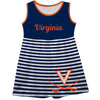 Virginia Cavaliers Big Logo Navy And White Stripes Tank Dress - Vive La Fête - Online Children's Apparel