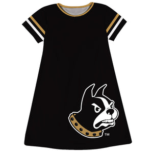 Wofford Big Logo Black Stripes Short Sleeve A Line Dress - Vive La Fête - Online Children's Apparel