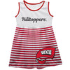 Western Kentucky Big Logo Red And White Stripes Tank Dress - Vive La Fête - Online Children's Apparel