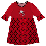 Western Kentucky Quatrefoil Red Amy Dress Three Quarter Sl - Vive La Fête - Online Apparel Store