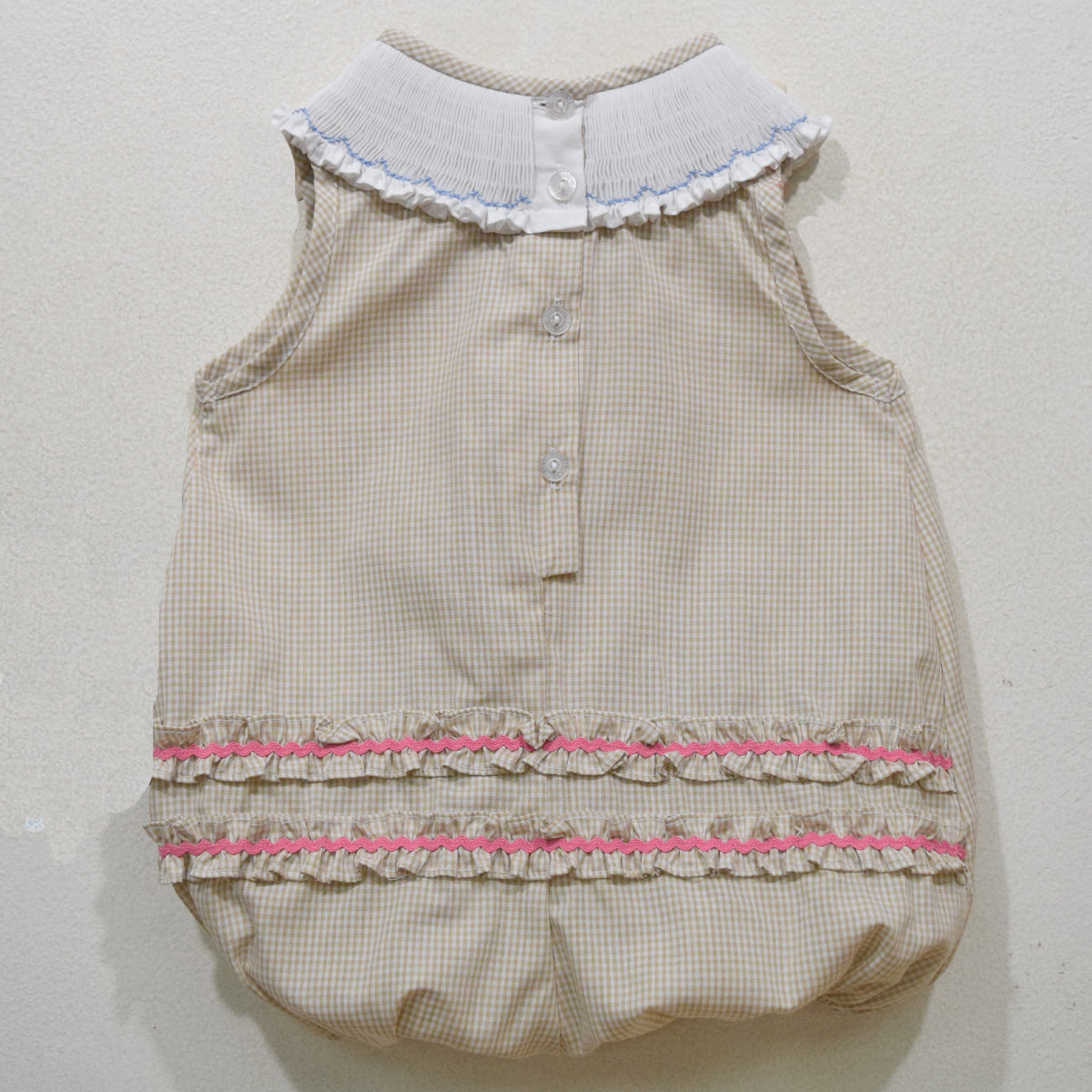 Seashells Smocked Beige Mini Check Girls Bubble Bishop With Insert - Vive La Fête - Online Apparel Store