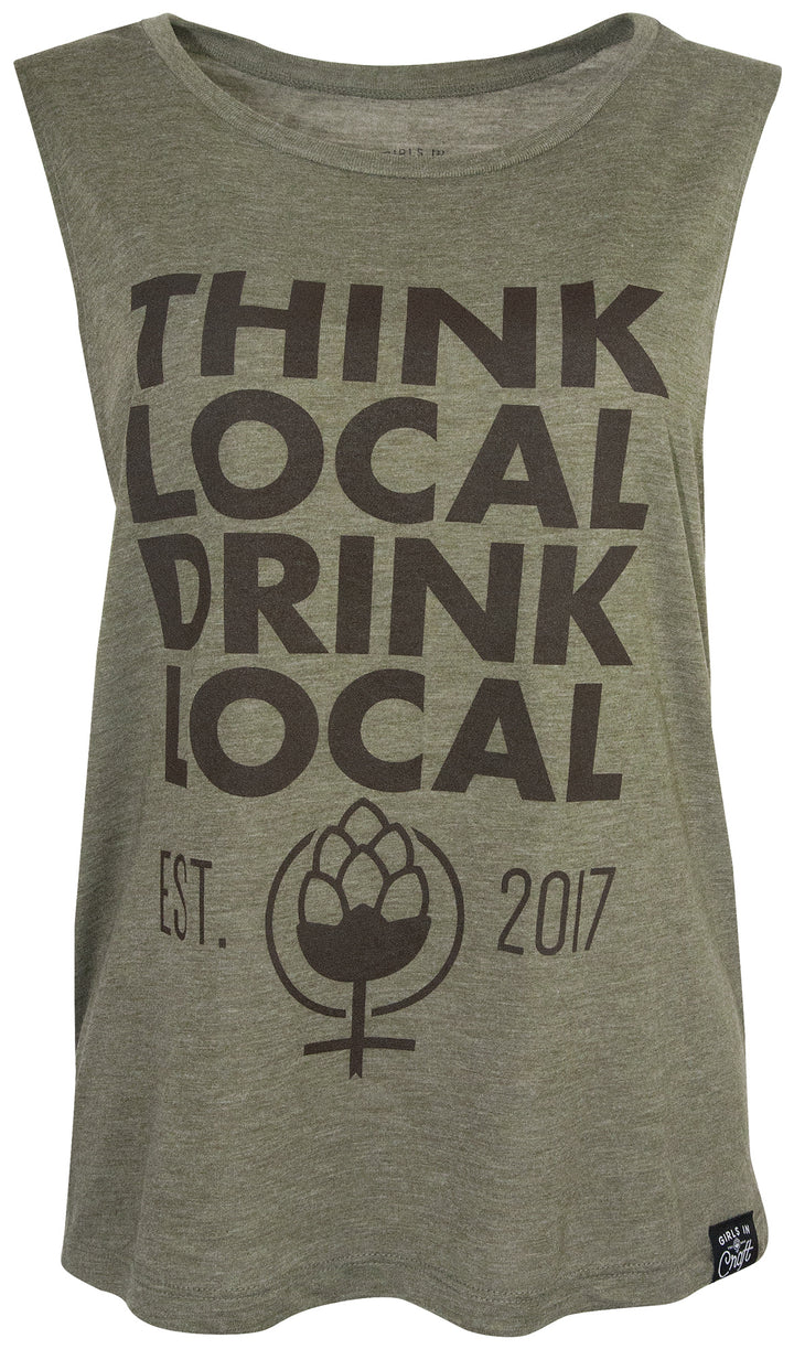 Think Local Drink Local Hi-Lo Muscle Tee-Heather Olive