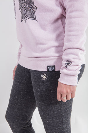 Hops R Female Flowers Crewneck-Rose Quartz