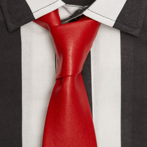 F*CK YOU RED VEGAN LEATHER TIE