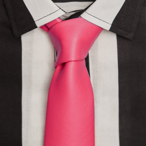 ROCK N' ROLL PINK LEATHER TIE