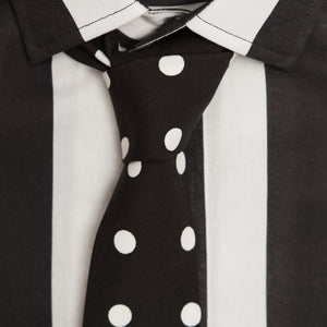 BLACK N' WHITE SPOTTED COTTON TIE