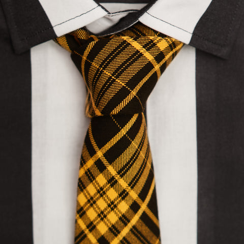 TAXI CAB YELLOW PLAID COTTON TIE