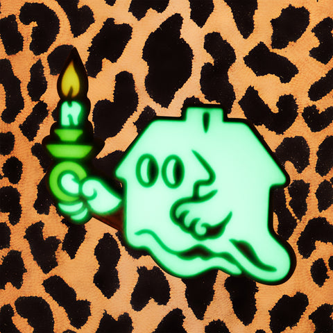 GLOW-IN-THE-DARK GHOST HOUSE ENAMEL PIN
