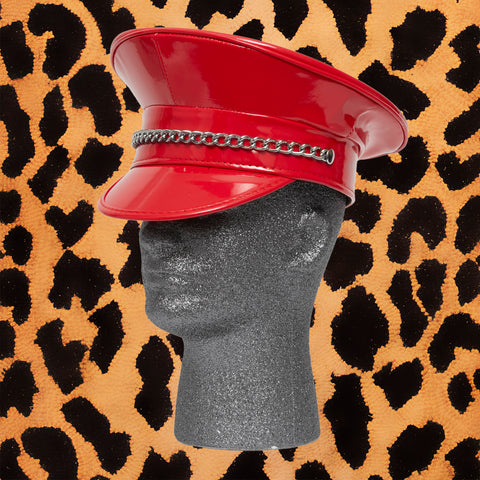 FIRE RED SHINY VINYL POLICE HAT WITH CHAIN - I NEED MORE