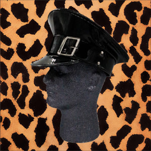 BLACK SHINY VINYL POLICE HAT WITH BUCKLE