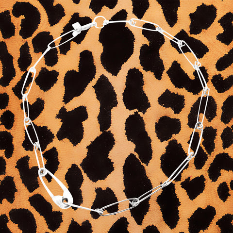 STERLING SILVER 'HEAVY SAFETY PIN CHOKER'