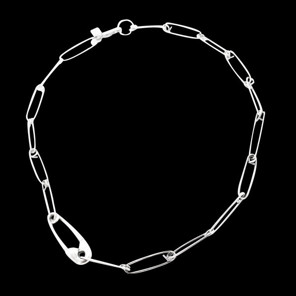 STERLING SILVER LARGE SAFETY PIN CHOKER'