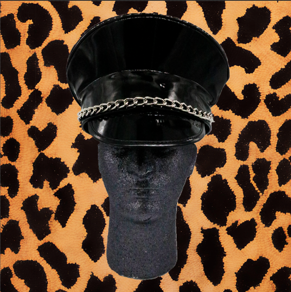 BLACK SHINY VINYL POLICE HAT WITH CHAIN