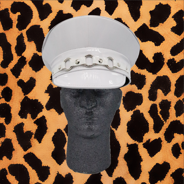WHITE SHINY VINYL POLICE HAT WITH THREE RINGS