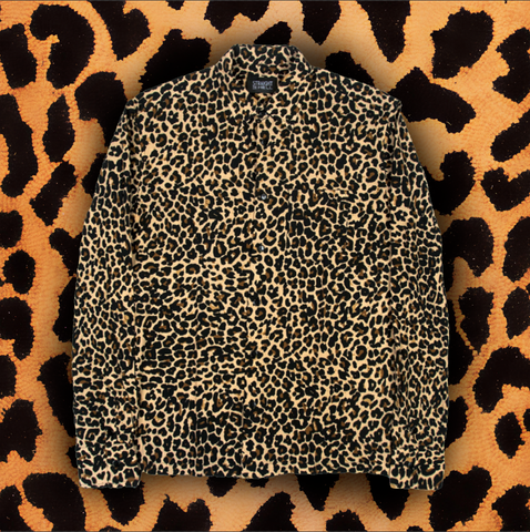 "STRAIGHT TO HELL ""BONE JACKED LEOPARD SHIRT"" Long Sleeve Button Up Shirt (MEN'S)"