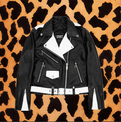 "STRAIGHT TO HELL ""COMMANDO"" BLACK/WHITE LEATHER JACKET WITH NICKEL HARDWARE (WOMEN'S)"