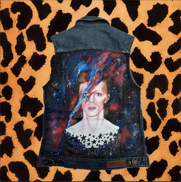 "LEA WILLIAMS ""DAVID BOWIE"" HAND PAINTED VEST (FITS WOMEN'S MEDIUM/MENS SMALL)"