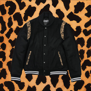 ACE VARSITY JACKET (BLACK/LEOPARD)