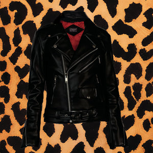 "STRAIGHT TO HELL VEGAN ""COMMANDO"" BLACK NICKEL LEATHER JACKET (WOMEN'S)"