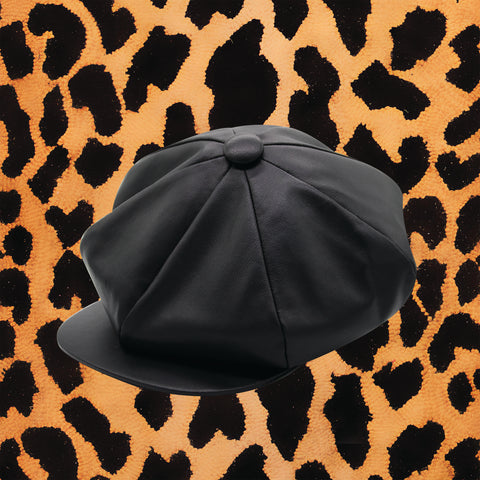 BLACK LAMBSKIN 'BIG APPLE' HAT