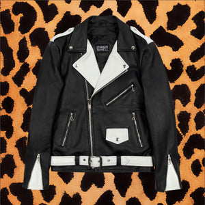 "STRAIGHT TO HELL ""COMMANDO"" BLACK/WHITE LEATHER JACKET WITH NICKEL HARDWARE (MEN'S)"