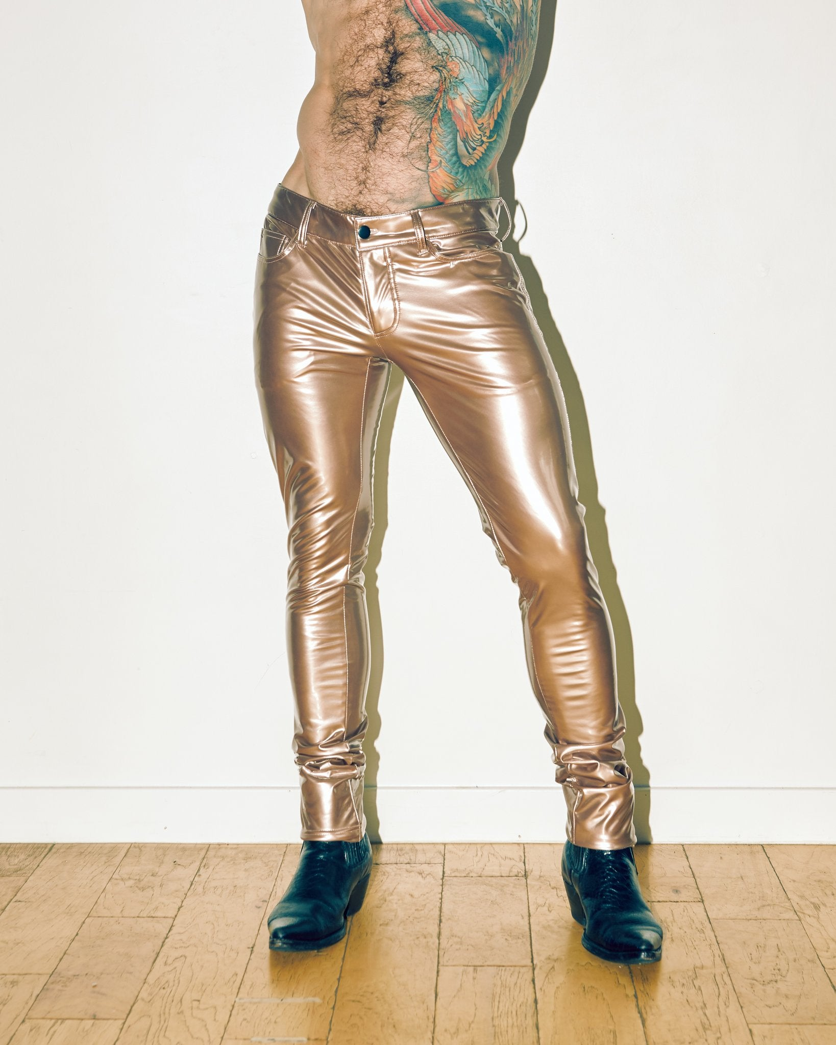 DIRTY GOLD VINYL PANTS