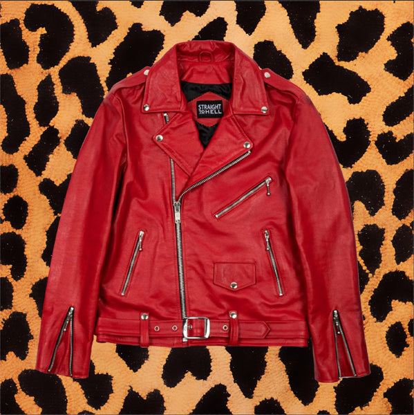 "STRAIGHT TO HELL ""COMMANDO"" BLOOD RED LEATHER JACKET (MEN'S)"
