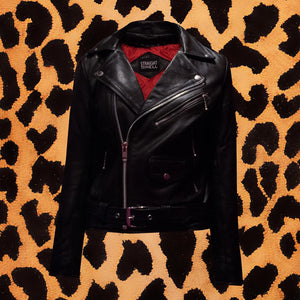 "STRAIGHT TO HELL ""COMMANDO"" BLACK LEATHER JACKET (WOMEN'S)"