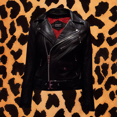 STRAIGHT TO HELL 'COMMANDO' WOMENS BLACK LEATHER JACKET
