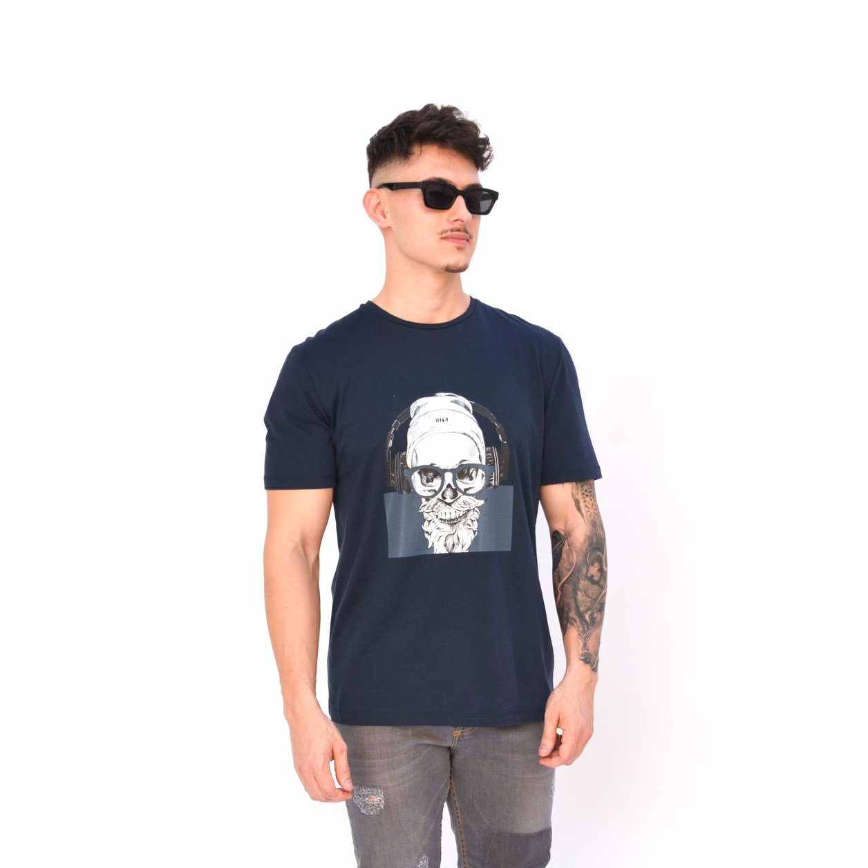 T-SHIRT NAVY HEADPHONES
