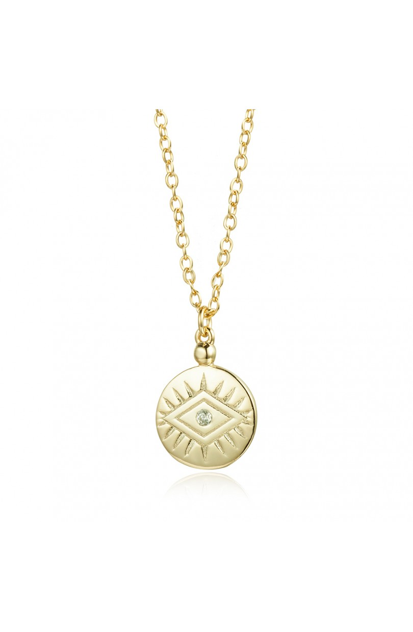 Evil Eye Coin Necklace Gold
